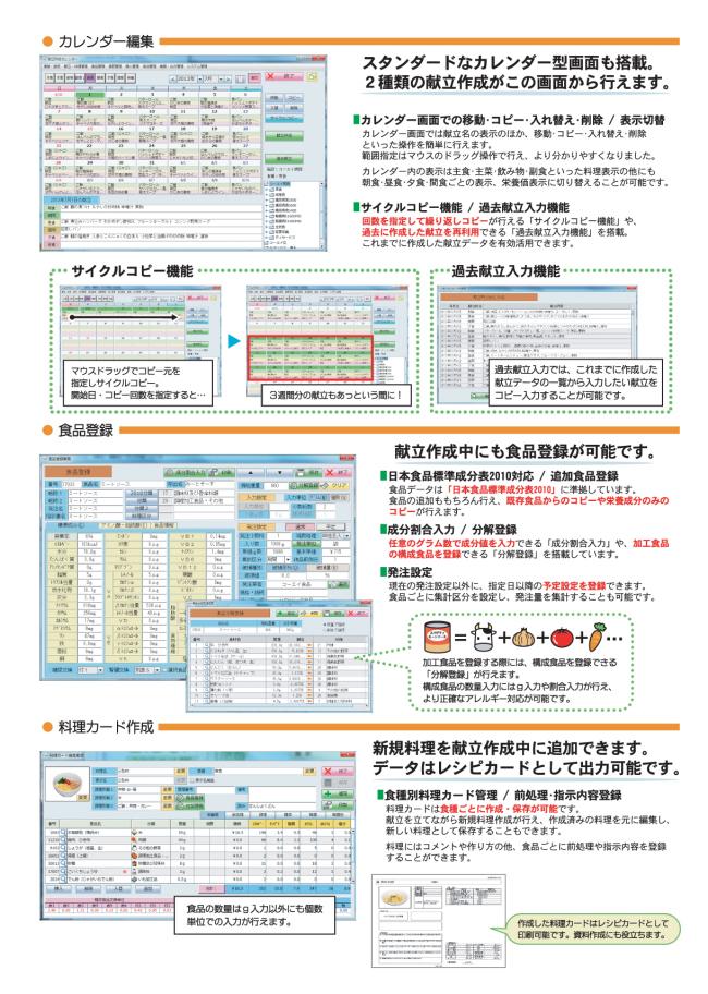 ・カレンダー編集。スタンダードなカレンダー型画面も搭載。過去献立も再利用できます。・食品登録。日本食品標準成分表2010準拠。追加食品登録。成分割合入力や分解登録もできます。発注設定。・料理カード作成。データはレシピカードとして出力可能。食種別料理カード管理。料理にはコメントや作り方のほか、食品ごとに前処理や指示内容を登録することができます。